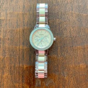 Fossil rose gold two tone watch